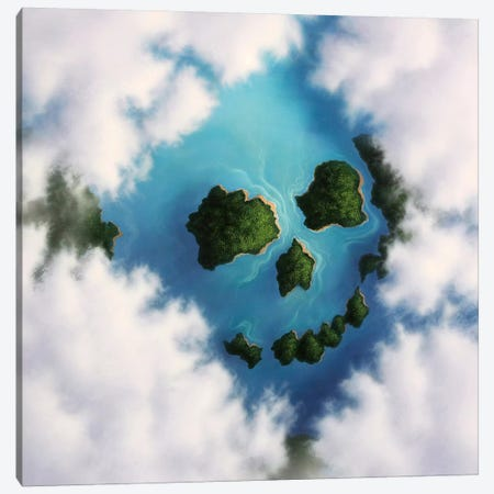 Islands Framed By Clouds Forming A Skull Canvas Print #TRK1220} by Jerry Lofaro Canvas Art