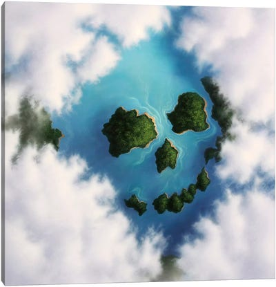 Islands Framed By Clouds Forming A Skull Canvas Art Print