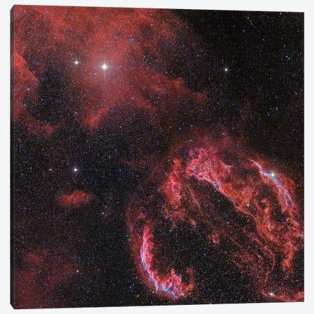 The Veil Nebula In The Constellation Cygnus Glows Red Canvas Print #TRK1225} by John Davis Art Print
