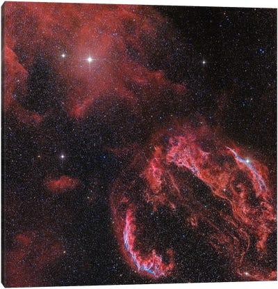 The Veil Nebula In The Constellation Cygnus Glows Red Canvas Art Print
