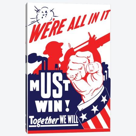 Vintage WWII Propaganda Poster I Canvas Print #TRK122} by John Parrot Canvas Artwork