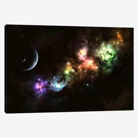 Artist's Concept Of Planet Carenteen, A Dwarf Planet Host To Beautiful Night Skies Canvas Print #TRK1233} by Kevin Lafin Art Print