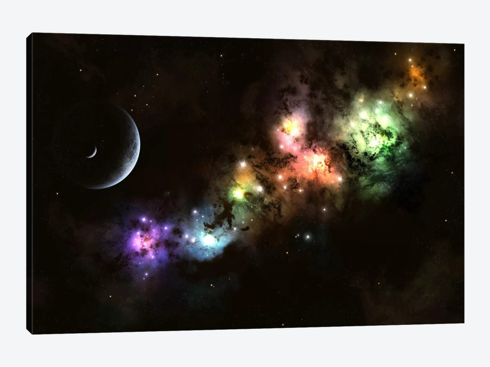 Artist's Concept Of Planet Carenteen, A Dwarf Planet Host To Beautiful Night Skies by Kevin Lafin 1-piece Canvas Art