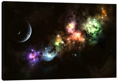 Artist's Concept Of Planet Carenteen, A Dwarf Planet Host To Beautiful Night Skies Canvas Art Print