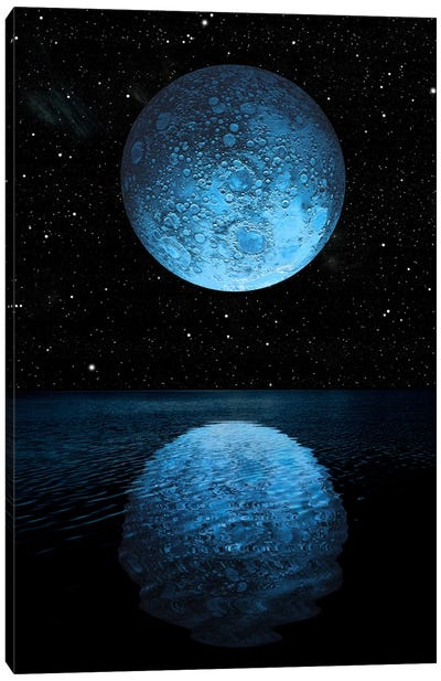 A Blue Moon Rising Over A Calm Alien Ocean With A Starry Sky As A Backdrop Canvas Art Print