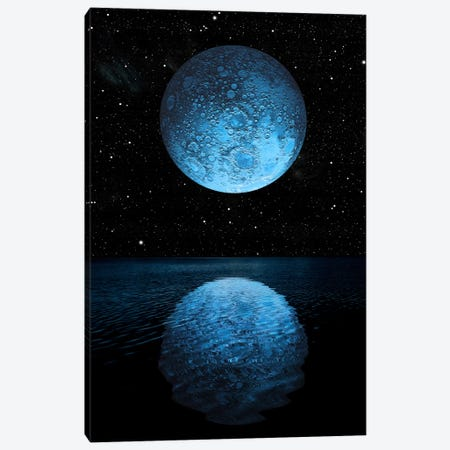 A Blue Moon Rising Over A Calm Alien Ocean With A Starry Sky As A Backdrop 3-Piece Canvas #TRK1239} by Marc Ward Canvas Art Print