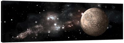 A Heavily Cratered Moon Alone In Deep Space Canvas Art Print