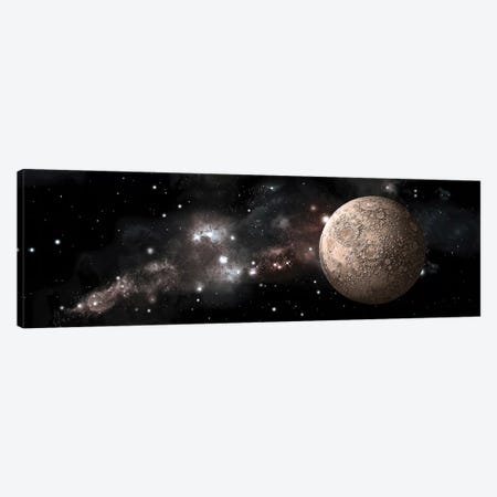 A Heavily Cratered Moon Alone In Deep Space Canvas Print #TRK1242} by Marc Ward Canvas Wall Art