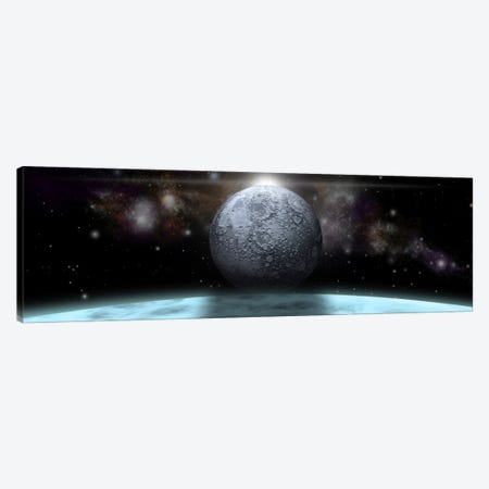 A Moon Rises Above A Stormy Gas Giant Planet Canvas Print #TRK1243} by Marc Ward Canvas Artwork