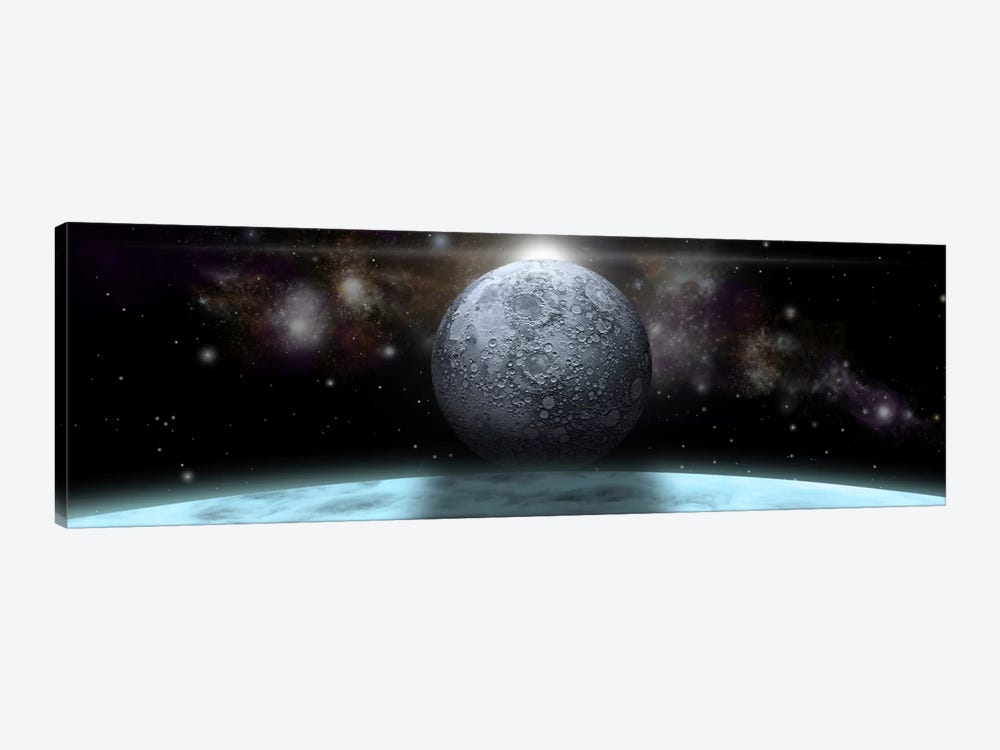 A Moon Rises Above A Stormy Gas Giant Planet by Marc Ward 1-piece Canvas Print