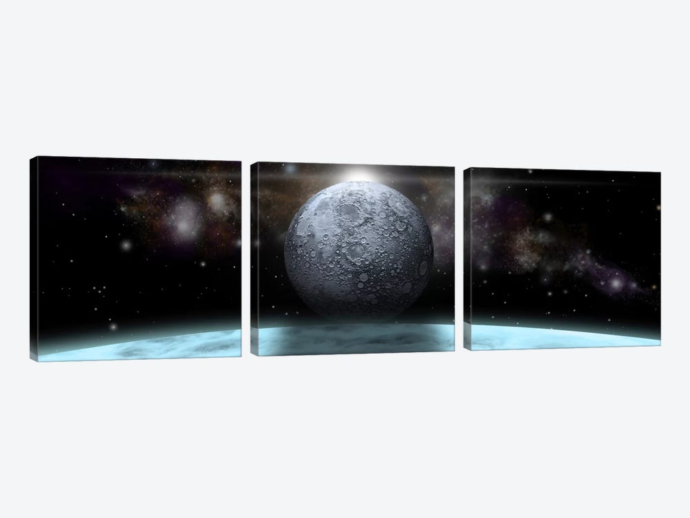 A Moon Rises Above A Stormy Gas Giant Planet by Marc Ward 3-piece Art Print