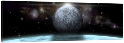 A Moon Rises Above A Stormy Gas Giant Planet Canvas Art Print