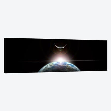 A Star Rising Over An Earth-Like Planet And Illuminating Its Lone Moon Canvas Print #TRK1244} by Marc Ward Canvas Art Print