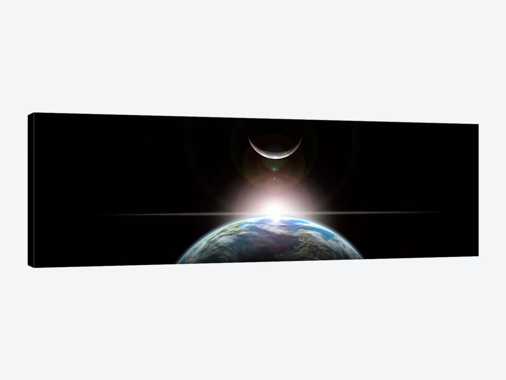 A Star Rising Over An Earth-Like Planet And Illuminating Its Lone Moon by Marc Ward 1-piece Canvas Wall Art