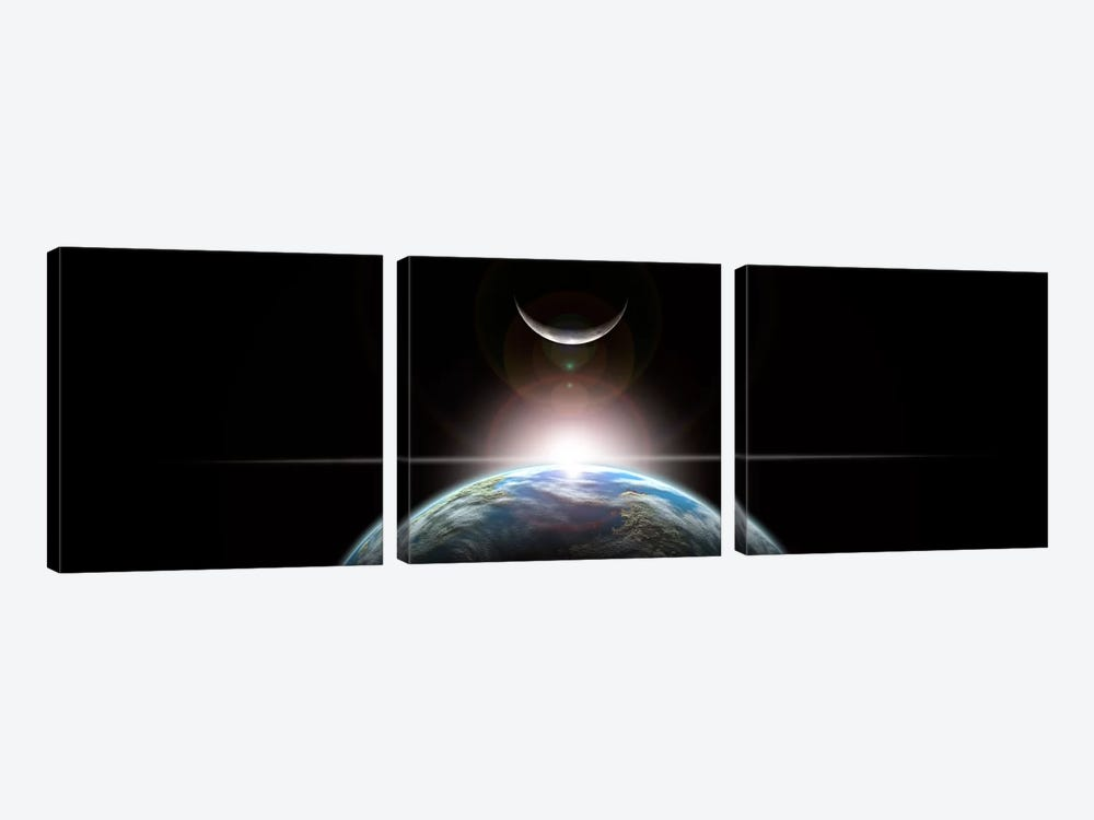 A Star Rising Over An Earth-Like Planet And Illuminating Its Lone Moon by Marc Ward 3-piece Canvas Artwork