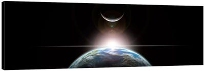 A Star Rising Over An Earth-Like Planet And Illuminating Its Lone Moon Canvas Art Print