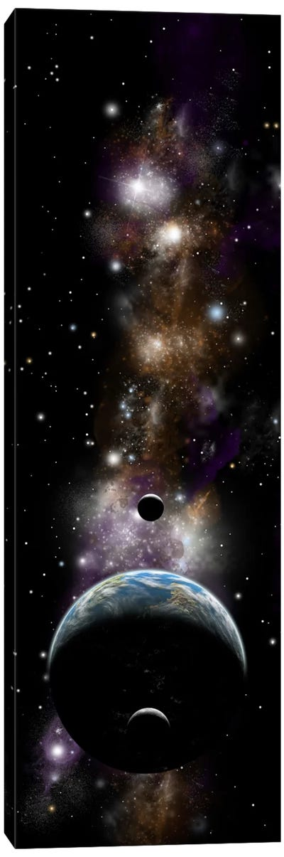 An Earth-Like Planet With A Pair Of Moons In Orbit II Canvas Art Print