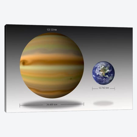 The Size Relationship Between Earth And Gliese 1214b I Canvas Print #TRK1259} by Marc Ward Art Print