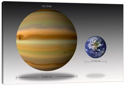 The Size Relationship Between Earth And Gliese 1214b I Canvas Art Print