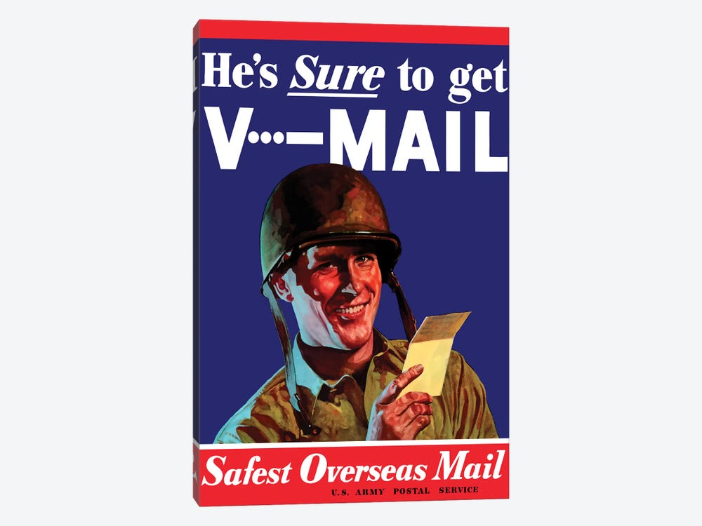 V-Mail US Wartime Poster by John Parrot 1-piece Canvas Art Print