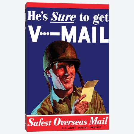V-Mail US Wartime Poster Canvas Print #TRK125} by John Parrot Canvas Print
