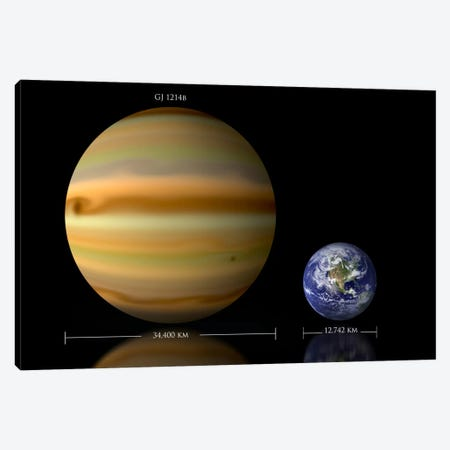 The Size Relationship Between Earth And Gliese 1214b II Canvas Print #TRK1260} by Marc Ward Canvas Artwork