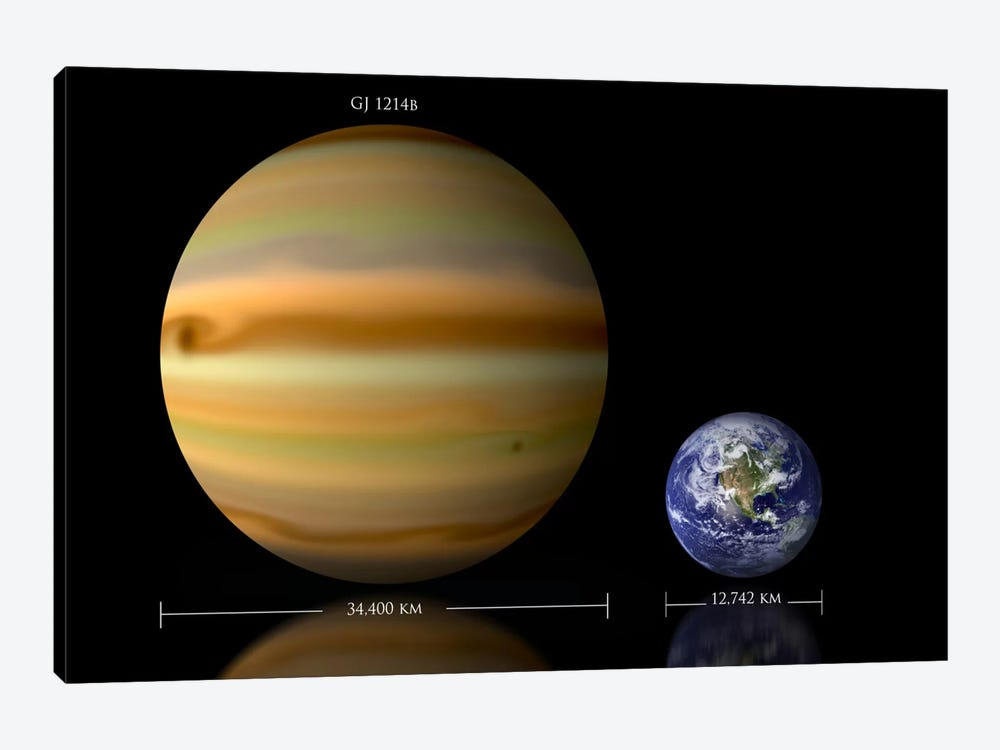 The Size Relationship Between Earth And Gliese 1214b II by Marc Ward 1-piece Canvas Artwork
