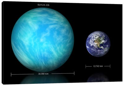 The Size Relationship Between Earth And Kepler 22b Canvas Art Print