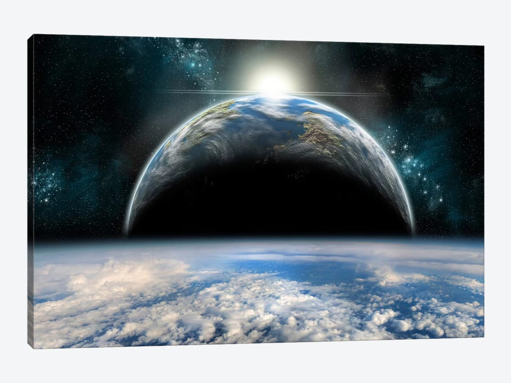 The Sun Rises Over One Of A Pair Of Twin Planets by Marc Ward 1-piece Canvas Print