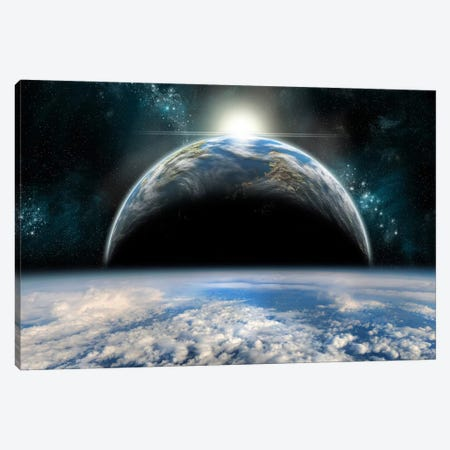 The Sun Rises Over One Of A Pair Of Twin Planets Canvas Print #TRK1263} by Marc Ward Canvas Artwork
