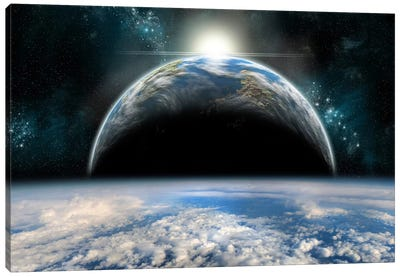 The Sun Rises Over One Of A Pair Of Twin Planets Canvas Art Print