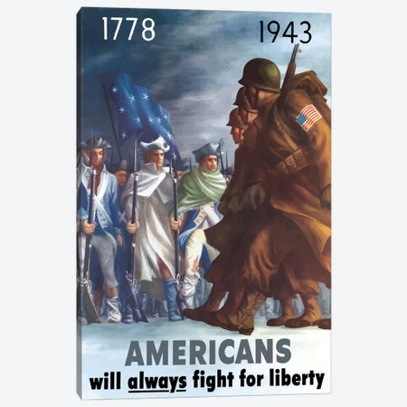 War Poster Of American Infantryman Marching Past Minutemen Canvas Print #TRK126} by John Parrot Canvas Art Print