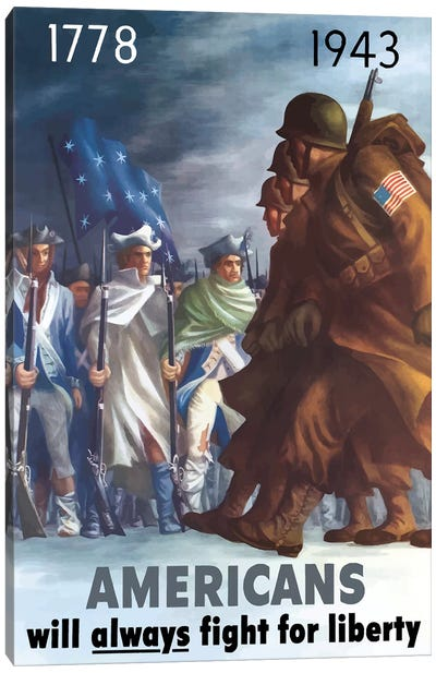 War Poster Of American Infantryman Marching Past Minutemen Canvas Art Print