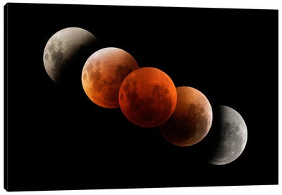 Composite Image Of Lunar Eclipse I Canvas Art Print