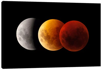 Composite Image Of Lunar Eclipse II Canvas Art Print
