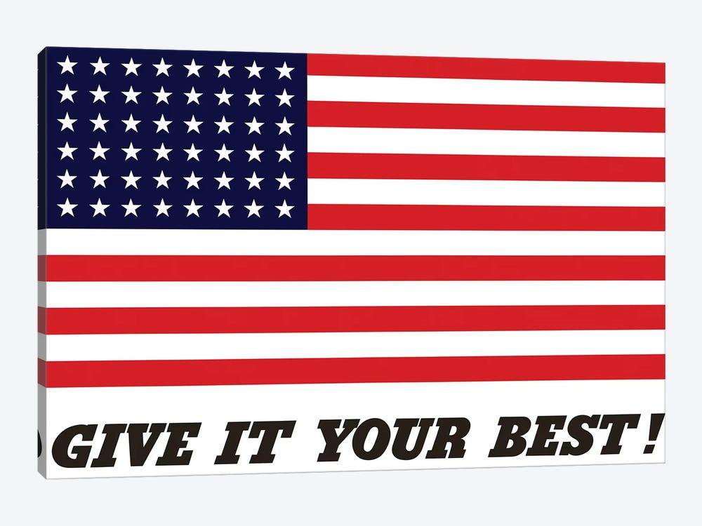 War Propaganda Poster Featuring The American Flag by John Parrot 1-piece Canvas Art Print