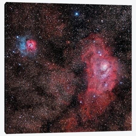 Lagoon Nebula And Trifid Nebula In Sagittarius Canvas Print #TRK1281} by Philip Hart Canvas Artwork