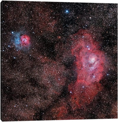 Lagoon Nebula And Trifid Nebula In Sagittarius Canvas Art Print