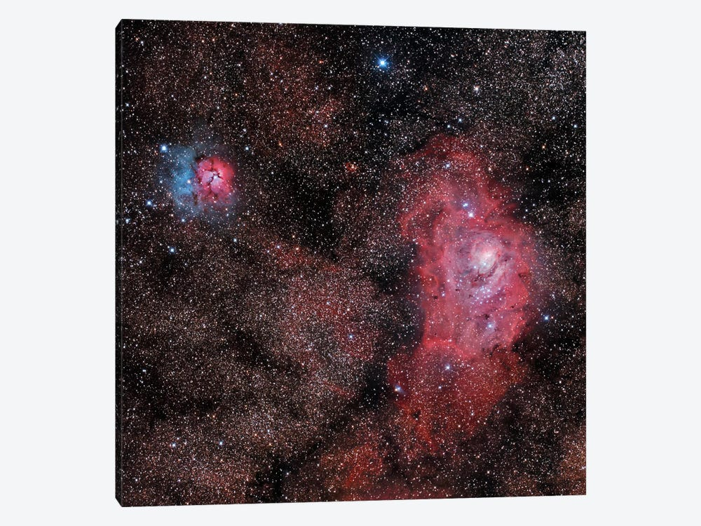 Lagoon Nebula And Trifid Nebula In Sagittarius by Philip Hart 1-piece Canvas Art Print