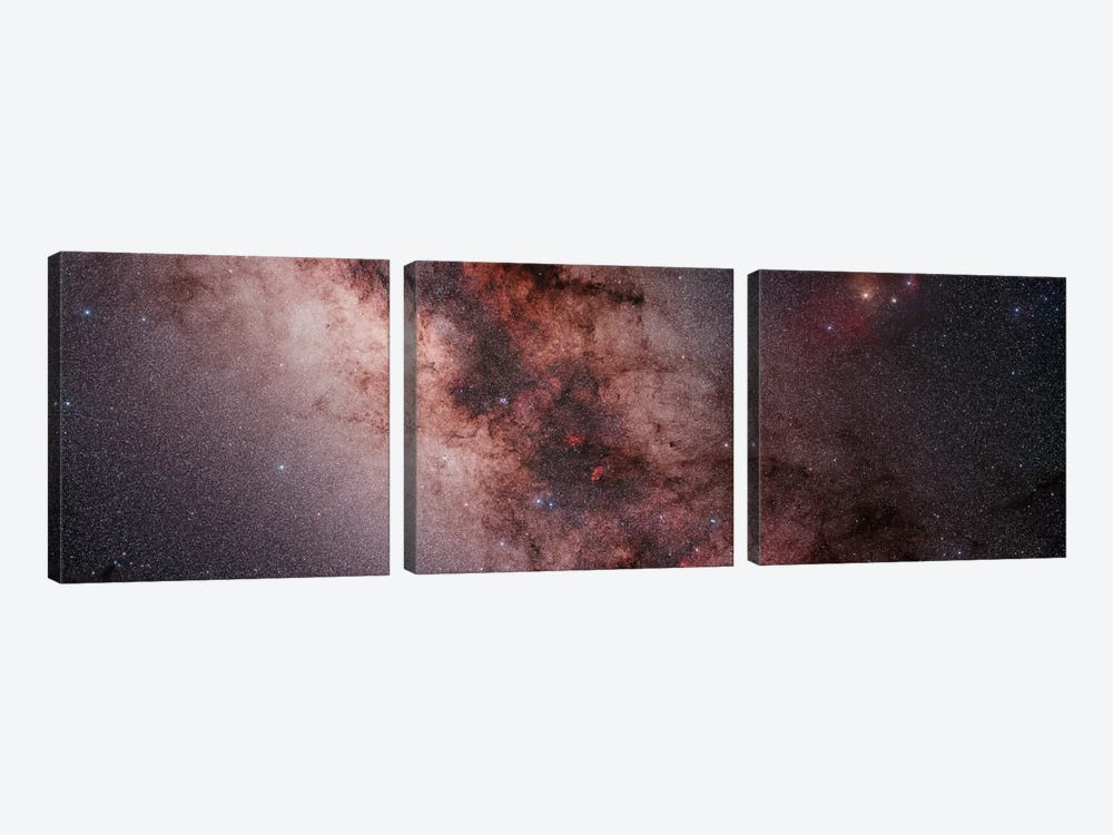 Stars, Nebulae And Dust Clouds Around The Center Of The Milky Way by Philip Hart 3-piece Canvas Print
