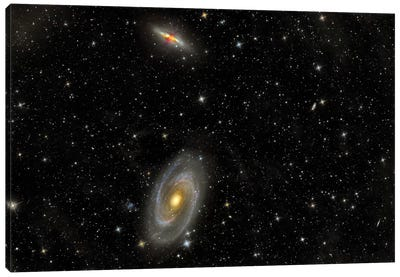 Cigar Galaxy And Bode's Galaxy In The Constellation Ursa Major Canvas Art Print