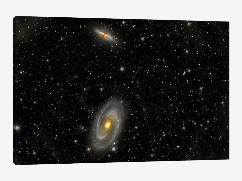 Cigar Galaxy And Bode's Galaxy In The Constellation Ursa Major by Reinhold Wittich 1-piece Canvas Art Print