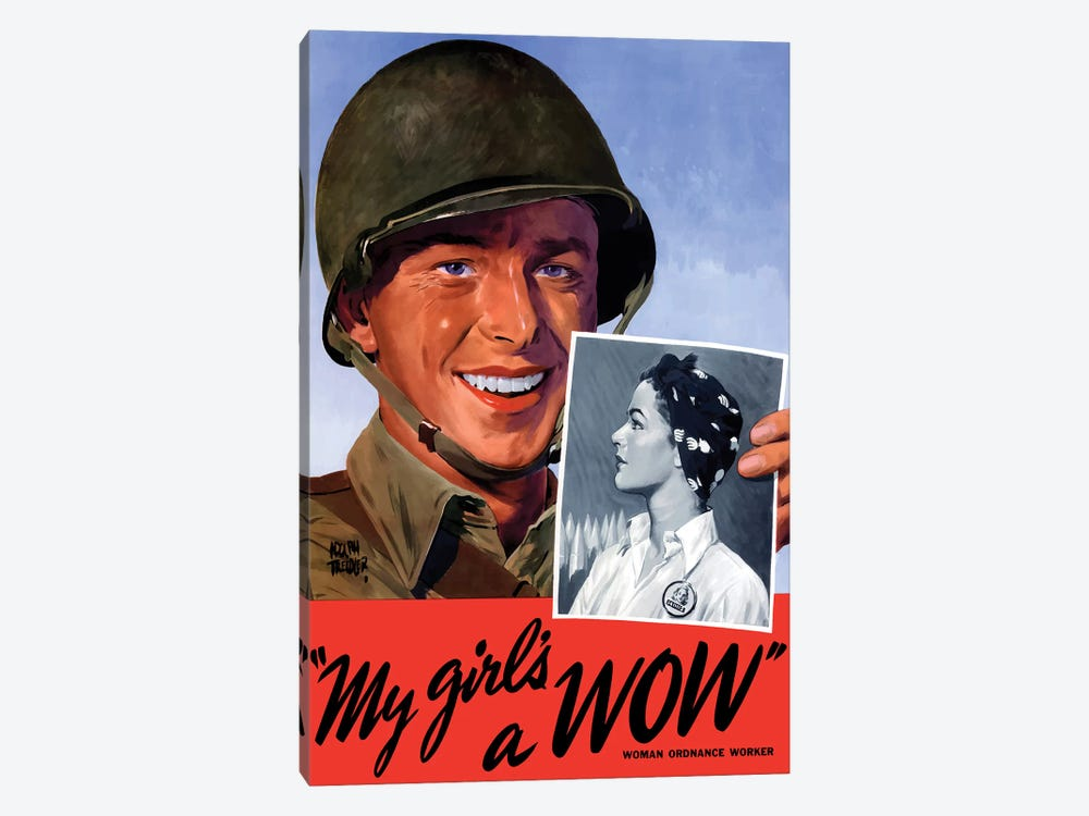Woman Ordnance Worker Wartime Poster by John Parrot 1-piece Canvas Artwork