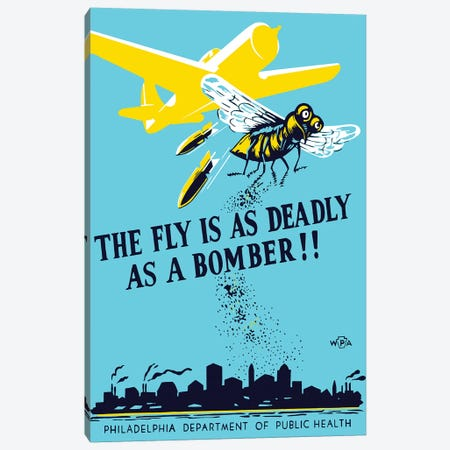 WPA Propaganda Poster Of A Bomber Plane And A Fly Dropping Germs Canvas Print #TRK129} by John Parrot Canvas Artwork