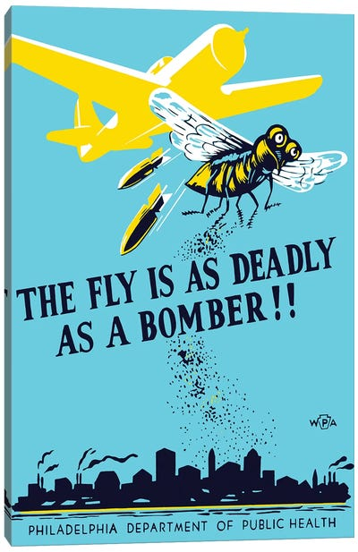 WPA Propaganda Poster Of A Bomber Plane And A Fly Dropping Germs Canvas Art Print