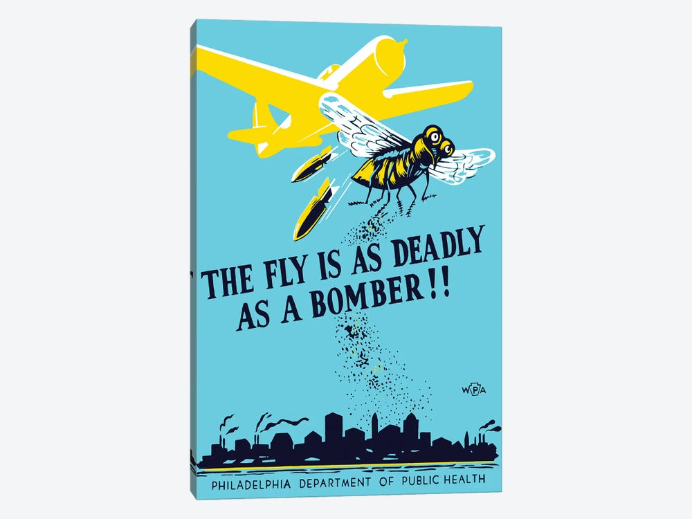 WPA Propaganda Poster Of A Bomber Plane And A Fly Dropping Germs by John Parrot 1-piece Art Print