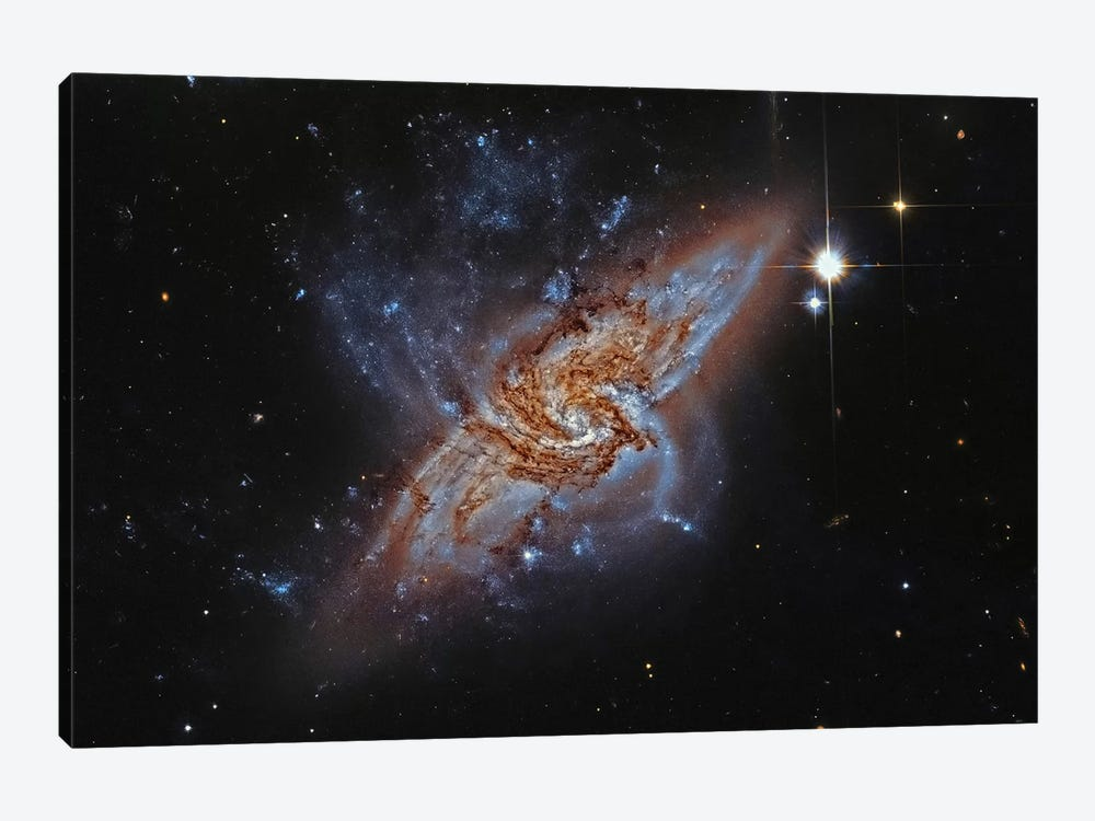 A Pair Of Overlapping Spiral Galaxies (NGC 3314) by Roberto Colombari 1-piece Canvas Artwork