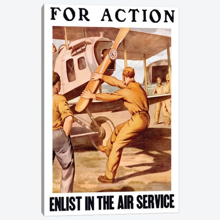 WWI Poster Of A US Airman Cranking The Propeller Of An Airplane Canvas Print #TRK131} by John Parrot Art Print