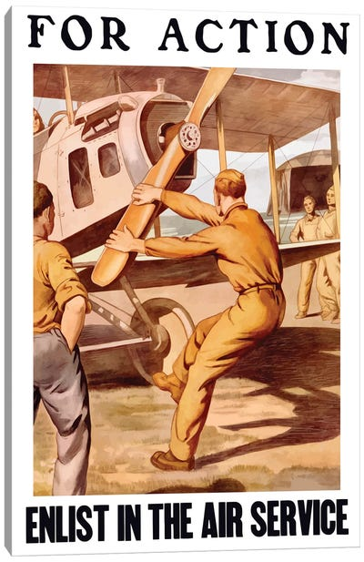WWI Poster Of A US Airman Cranking The Propeller Of An Airplane Canvas Art Print