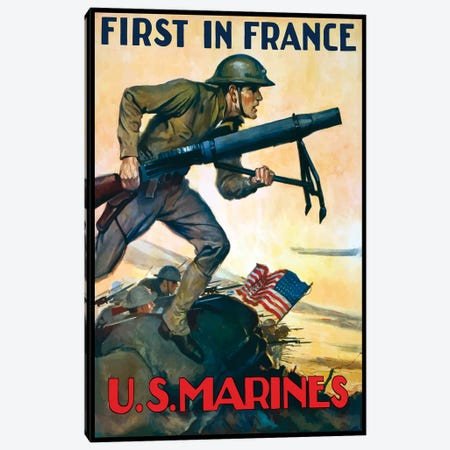 WWI Poster Of Marines Charging Into Battle Behind The American Flag Canvas Print #TRK132} by John Parrot Canvas Print